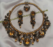 Vintage 15.52ct Antique Rose Cut Diamond Silver Party Topaz Necklace Set And Ring