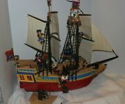 Playmobil Pirate Ship 4290. Very Nearly Complete With Extra Pirates.