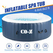 6-person Round Inflatable Hot Tub Spa W 140 Bubble Jets For Patio Backyard