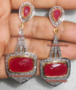 Antique Rose Cut Diamond 2.80ct Silver Ruby Dangle Earrings Xmas New Year Party