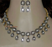 Antique Rose Cut Diamond 12.70ct And Silver 925 Victorian Look Polki Necklace Set