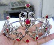 7.58ct Antique Rose Cut Diamond Sterling Silver 925 Queen Style Ruby Tiara Crown