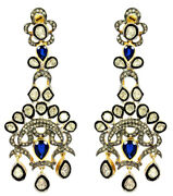 New Year Party Wear 3.90ct Real Antique Rose Cut Diamond Sapphire Polki Earrings