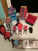 Monster High Furniture Playset Bundle Furniture And Game Room Lot- 11 Piece Lot