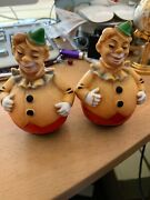 Vtg Lot Of 2 1950 Roly Poly Clown Circus Rare Red Yellow Green Rubber Toy Colle