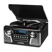 3-speed Turntable Record Player Retro Style With Bluetooth And Cd Player, Black