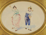 19th Century Dapper Couple Dancing Watercolor Painting Of Folk Dancers Chicago