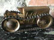 Vintage Lumen Marx Pressed Tin Tractor Toy Rubber Tracks Climbing Wind Up