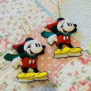 Set Of 2 Official Disney Mickey Mouse Fabric Vintage Christmas Tree Decorations