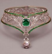 Antique Rose Cut Diamond 8.22ct Vintage Emerald Pearl Wedding Choker And Necklace