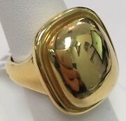 18k Yellow Gold Rectangular Dome Ring Size 5.75 Made In Italy 9.5 Dwt