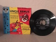 1955 Mickey Mouse Club Walt Disneyand039s Uncle Remus 4 Song 45 Rpm Record Dbr 66