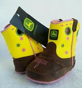 Wow John Deere Leather Cowboy Boots Baby Crib Size 2 Flowers Yellow Pink Floral