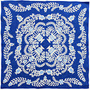 Floral Baskets Hand Applique Wall Sized Finished Quilt - Blue And White