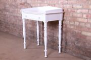 Baker Furniture Milling Road White Lacquered Small Writing Desk Or Entry Table,