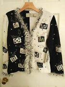 Design Options By Philip And Jane Gordon Special Occasion Sweater B/w Sz. M New