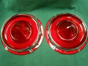 New 1957 Ford Fairlane T-bird Tail Light Lenses With Retainers - 1958 Ranchero