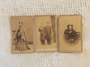 Victorian Cabinet Cards Photos Cartes De Visites With Stamps 1800's Set Of 3