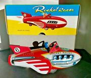 Vintage 1950and039s Rocket Racer Friction Tin Toy Bran New In Box - Mf 735
