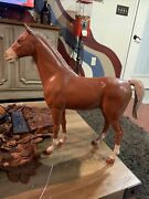 Vintage Louis Marx And Co. Hard Plastic Horse With Wheels T