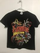Alstyle Youth Short Sleeve Shirt - S - Black Zombie Invasion Monster Jam