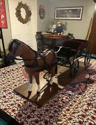 Rare Wooden And Metal Carriage Model Horse Drawn Fits American Girl Size Horse.