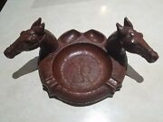 Vintage Syroco Wood - Tobacco Pipe Ashtray / Pipe Holder - Horse Heads