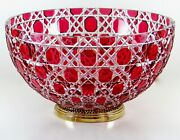 Faberge Russian Court Bowl Gold Ruby Cased Crystal 24k Plated Base