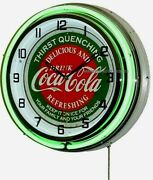 18 Drink Coca-cola Thirst Quenching Coke Sign Double Neon Clock
