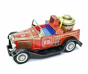 Vintage Tin Litho Toy Friction Fire Engine Truck Bandai Toys Convertible Ford