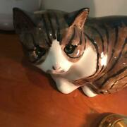 N.s.gustin Glass Eye Cat Pottery 18 Cm Ornament 1970s Antique From Japan Used