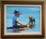 Vincent Silvano Framed Original Oil Painting, Canvas, Signed W/coa Play Friend