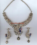 Antique Rose Cut Diamond 11.10ct Silver Ruby Polki Peacock Necklace Set Jewelry