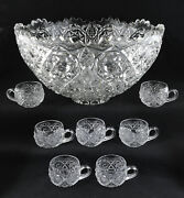 Eapg Fostoria Rosby Clear Pressed Glass Punch Bowl And Seven Cups
