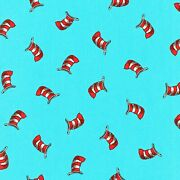 Cat In The Hat Celebrate Seuss Adventure Hats On Blue Cotton Fabric