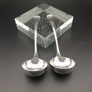 Pair Sterling Silver Small Ladle Spoons Hallmarked Sheffield C1919 Walker And Hall