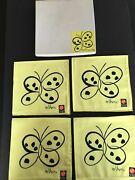 Greetings Vintage Vera New In Box Cotton Yellow Butterfly Napkins Set For Mikasa
