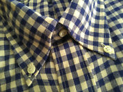 Nwot Southwick For Ships Blue White Gingham Check Flannel 17-35 Slim Fit