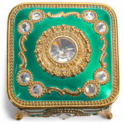 Emerald Green Gold Accent Jeweled Square 3x2 Jewelry Box Candle In The Wind