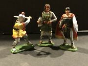3 Original Vintage 1960's Marx 54mm.knights From A Playset