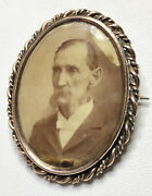 10k Gold Mourning Jewelry Antique Tin Type Photo Man Gentleman Frame Pin Brooch