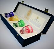 Outstanding Faberge Colorful Crystal Vodka Shot Glasses Original Box And Paperwork