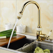 Pull Out Spray Kitchen Sink Golden Mixer Swivel Spout Faucet Single Lever Taps05