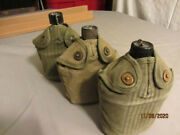 Set Of Three Vintage World War Ii Us Military Canteens With Covers