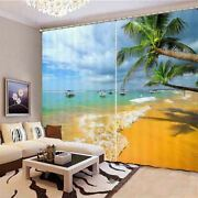 Romantic Seaside Holiday 3d Blockout Photo Print Curtain Fabric Curtains Window