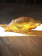 """13.75"""" Vintage Amber Glass Fish Shaped Embossed Standing Bottle Mcm Mid Century"""
