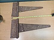 A Pair Of Antique Hand Wrought Iron Barn Door Hinges.