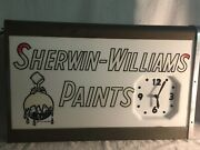 Vintage Sherwin Williams Cover The Earth Lighted Clock Telesign Inc Metal 24andrdquo