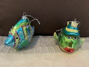 Glass Fish Christmas Ornament. One Blue And One Green Which Is A Ksa Ornament.