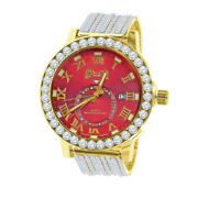 Solitaire Ruby Red Genuine Diamond Gold Finish Xl 55 Mm Custom Ice House Watch